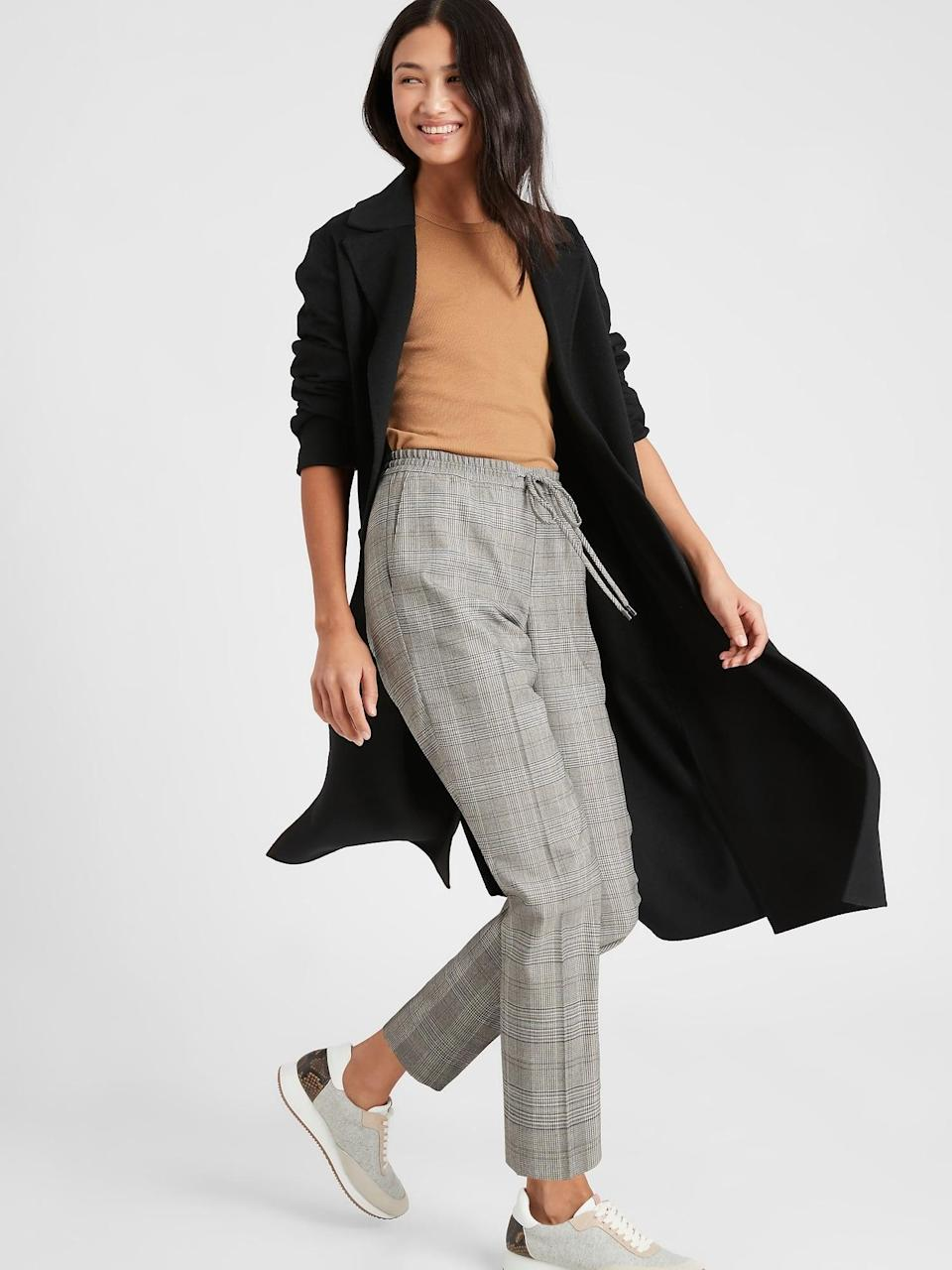 <p>The drawstring waist of a cargo pant in an office check pattern! These <span>Banana Republic Pull-On Pant</span> ($99) will fast become your go to!</p>