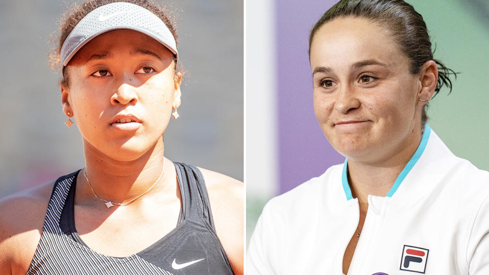 Ash Barty, pictured here speaking to the media after winning Wimbledon.