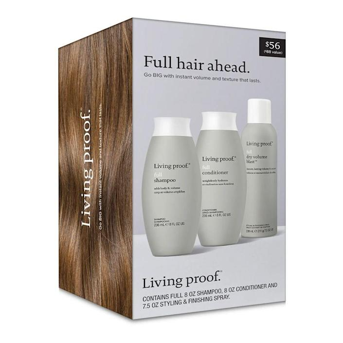 """<p><strong>Living Proof</strong></p><p>nordstrom.com</p><p><strong>$56.00</strong></p><p><a href=""""https://go.redirectingat.com?id=74968X1596630&url=https%3A%2F%2Fwww.nordstrom.com%2Fs%2Fliving-proof-full-shampoo-conditioner-styling-spray-set-88-value%2F5928857&sref=https%3A%2F%2Fwww.bestproducts.com%2Fbeauty%2Fg256%2Fchristmas-holiday-beauty-gifts%2F"""" rel=""""nofollow noopener"""" target=""""_blank"""" data-ylk=""""slk:Shop Now"""" class=""""link rapid-noclick-resp"""">Shop Now</a></p><p>Take flat hair to new heights with this trio of hair-raising treats. This kit includes full sizes of Living Proof's Full Shampoo, Full Conditioner, and Full Dry Volume Blast Styling & Finishing Spray to create a fuller, thicker mane that won't be tamed down by the end of the day.</p>"""