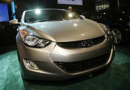 The 2012 North American Car of the Year Hyundai Elantra is exhibited on the first press preview day at Cobo Arena in Detroit, Michigan