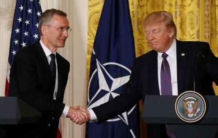U.S. President Trump and NATO Secretary General Stoltenberg hold joint news conference at the White House in Washington