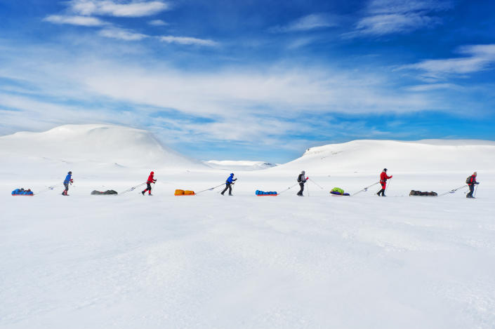 """<b>Viewers' Choice for People: Expedition Amundsen</b> <br> A race that follows in the path of the famous explorer Roald Amundsen brings the contestants to the Hardangervidda Mountainplateu, Norway. 100km across the plateau, the exact same route Amundsen used to prepare for his South Pole expedition in 1911 is still used by explorers today. Amundsen did not manage to cross the plateau and had to turn back because of bad weather. He allegedly said that the attempt to cross Hardangervidda was just as dangerous and hard as the conquering of the South Pole. <a href=""""http://ngm.nationalgeographic.com/ngm/photo-contest/"""" rel=""""nofollow noopener"""" target=""""_blank"""" data-ylk=""""slk:(Photo and caption by Kai-Otto Melau/National Geographic Photo Contest)"""" class=""""link rapid-noclick-resp"""">(Photo and caption by Kai-Otto Melau/National Geographic Photo Contest)</a>"""