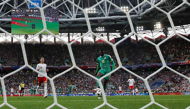 Soccer Football - World Cup - Group H - Poland vs Senegal - Spartak Stadium, Moscow, Russia - June 19, 2018 Senegal's M'Baye Niang scores their second goal REUTERS/Christian Hartmann