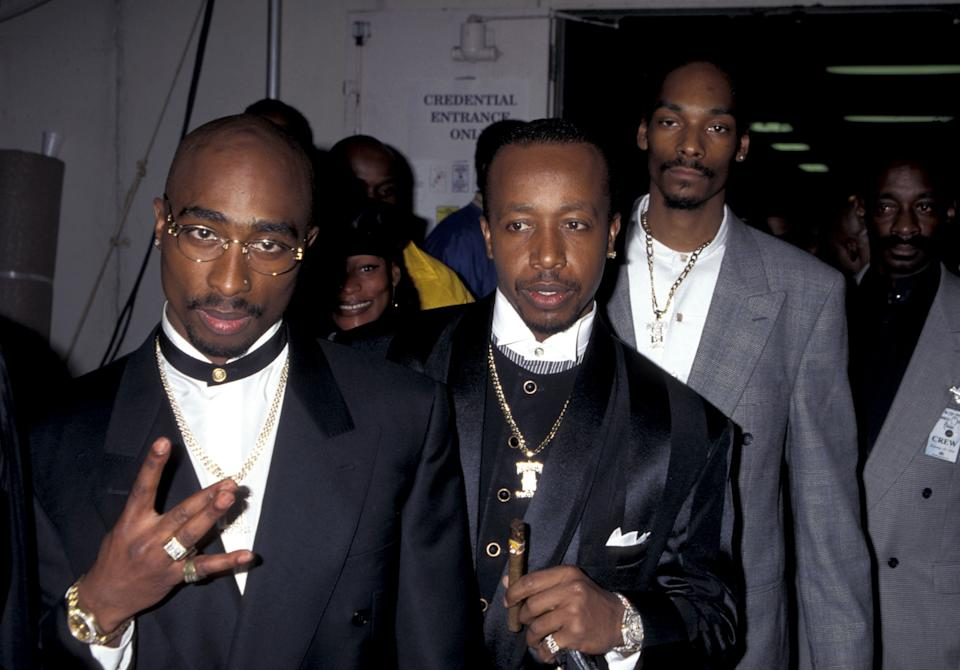 Tupac Shakur, M.C. Hammer eSnoop Dogg, Los Angeles (Photo by Jim Smeal/Ron Galella Collection via Getty Images)