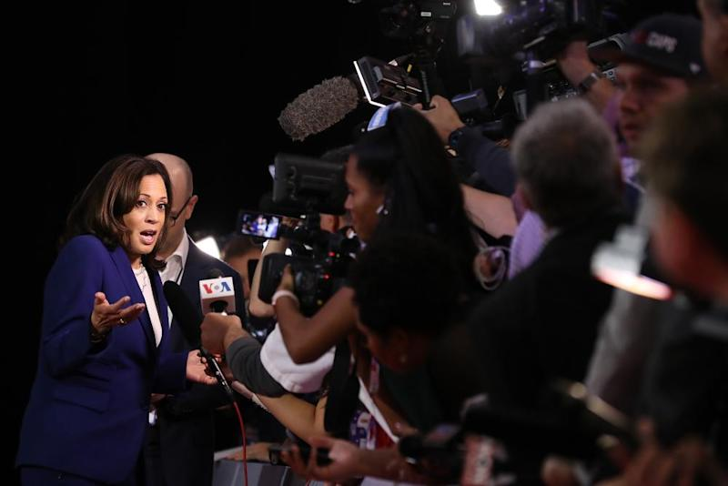Kamala Harris after the Democratic presidential debate in Westerville, Ohio, on 15 October.