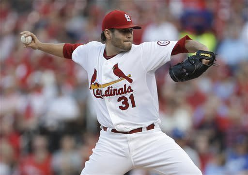 St. Louis Cardinals starting pitcher Lance Lynn throws during the first inning of a baseball game against the Kansas City Royals on Wednesday, May 29, 2013, in St. Louis. (AP Photo/Jeff Roberson