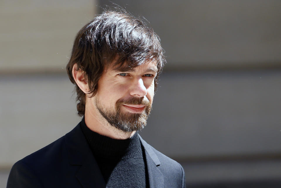 "PARIS, FRANCE - MAY 15: Chief executive officer of Twitter Inc. and Square Inc. Jack Dorsey arrives to attend the ""Tech for Good"" Summit at Hotel de Marigny on May 15, 2019 in Paris, France. The second edition of the ""Tech for Good Summit "" launched by French President Emmanuel Macron in 2018 brings together more than 80 leaders of large companies, startups and players in the global digital ecosystem to discuss the contribution of technology to the common good and the collective fight against digital threats. (Photo by Chesnot/Getty Images)"