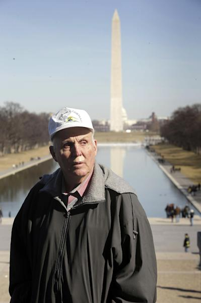 Indiana farmer Vernon Hugh Bowman, 75, is seen visiting the Lincoln Memorial in Washington, Monday, Feb. 18, 2013. On Tuesday, Feb. 19, 2013 the Supreme Court will hear arguments in a case between Bowman and agribusiness seed-giant Monsanto. (AP Photo/Pablo Martinez Monsivais)