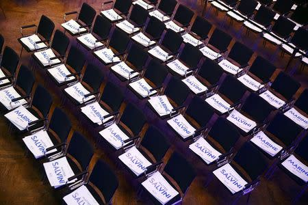 Chairs prepared with placards showing the names of Germany's Alternative for Germany (AfD) leader Frauke Petry, Matteo Salvini of the Northern League, France's National Front leader Marine Le Pen and Netherlands' Party for Freedom (PVV) leader Geert Wilders before the start of a European far-right leaders meeting to discuss about the European Union, in Koblenz, Germany, January 21, 2017.    REUTERS/Wolfgang Rattay