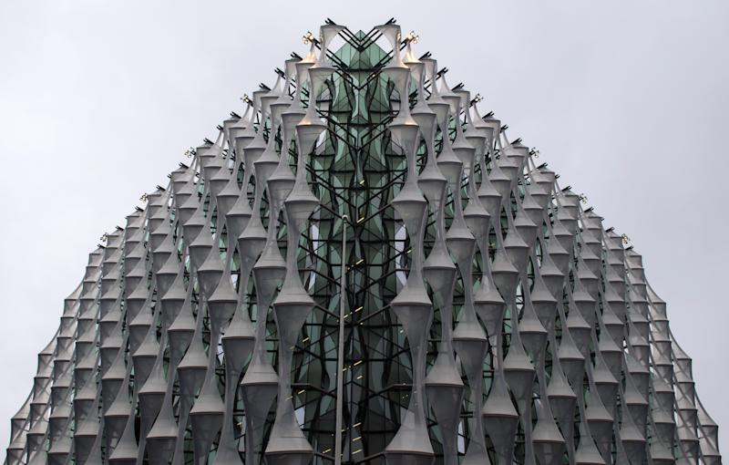 Detail of the facade on the new embassy, which is due to open this month. (Dominic Lipinski - PA Images via Getty Images)