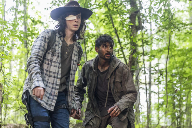 Chandler Riggs as Carl Grimes, left, and Avi Nash as Siddiq in <i>The Walking Dead</i>. (Photo: Jackson Lee Davis/AMC)