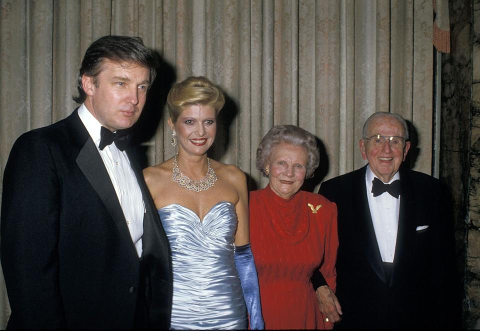 Donald Trump and then-wife Ivana Trump attend a 90th birthday party for Dr. Norman Vincent Peale (far right) at the Waldorf Astoria Hotel in New York on May 26, 1988. (Photo: Ron Galella via Getty Images)