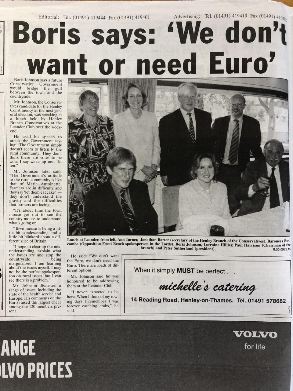 A report on Boris Johnson campaigning against the Euro in Henley in 2000 (Henley Standard/Henley Library)