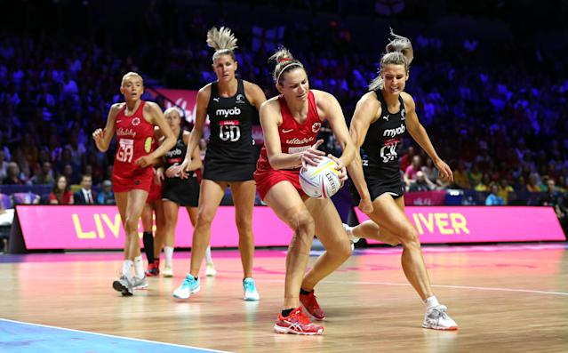 England in action against New Zealand during the Netball World Cup . (Photo by Nigel French/PA Images via Getty Images)
