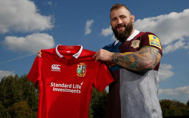 <span>Joe Marler with his Lions shirt</span> <span>Credit: Getty Images </span>