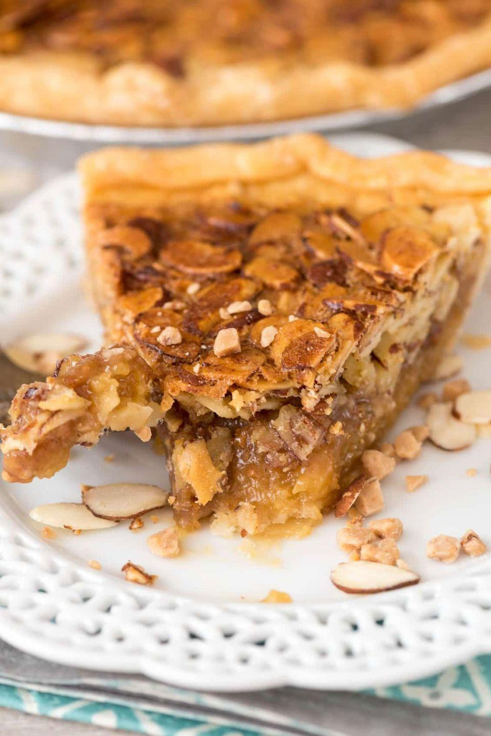 """<p>Give your dessert some crunch with this rich, flavorful recipe.</p><p><strong>Get the recipe at <a href=""""http://www.crazyforcrust.com/2016/11/toffee-almond-pie/"""" rel=""""nofollow noopener"""" target=""""_blank"""" data-ylk=""""slk:Crazy for Crust"""" class=""""link rapid-noclick-resp"""">Crazy for Crust</a>.</strong> </p>"""