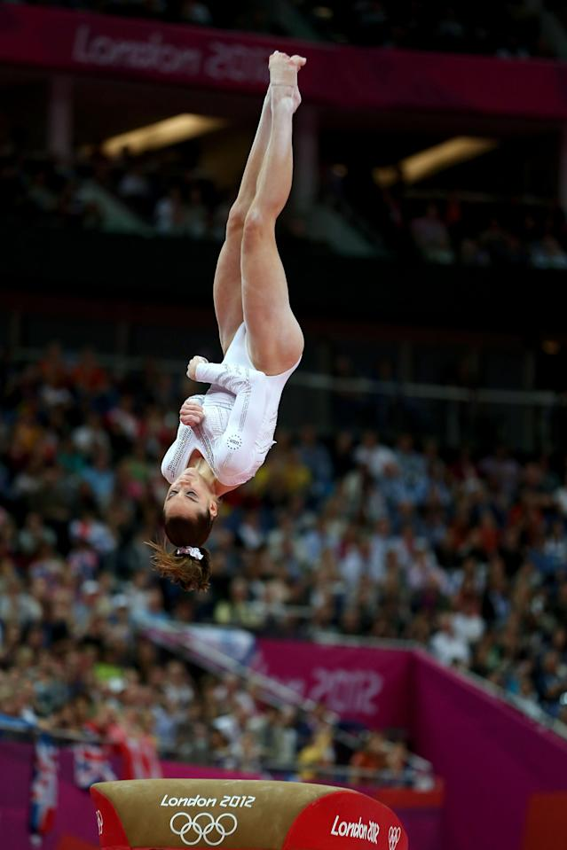 McKayla Maroney of United States competes in the Artistic Gymnastics Women's Vault final on Day 9 of the London 2012 Olympic Games at North Greenwich Arena on August 5, 2012 in London, England. (Photo by Quinn Rooney/Getty Images)