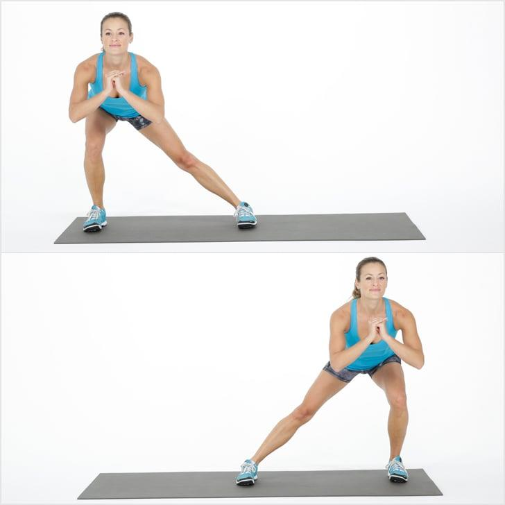 <ul> <li>Start with your feet directly under your hips.</li> <li>Step your right foot wide to the side coming into a lunge. Your right knee shouldn't go beyond your right toes. Keep your chest lifted and your weight on your heels. </li> <li>Push into your right foot to return to standing.</li> <li>Repeat on the other side, lunging to the left. This counts as one rep.</li> <li>Continue for one minute.</li> </ul>