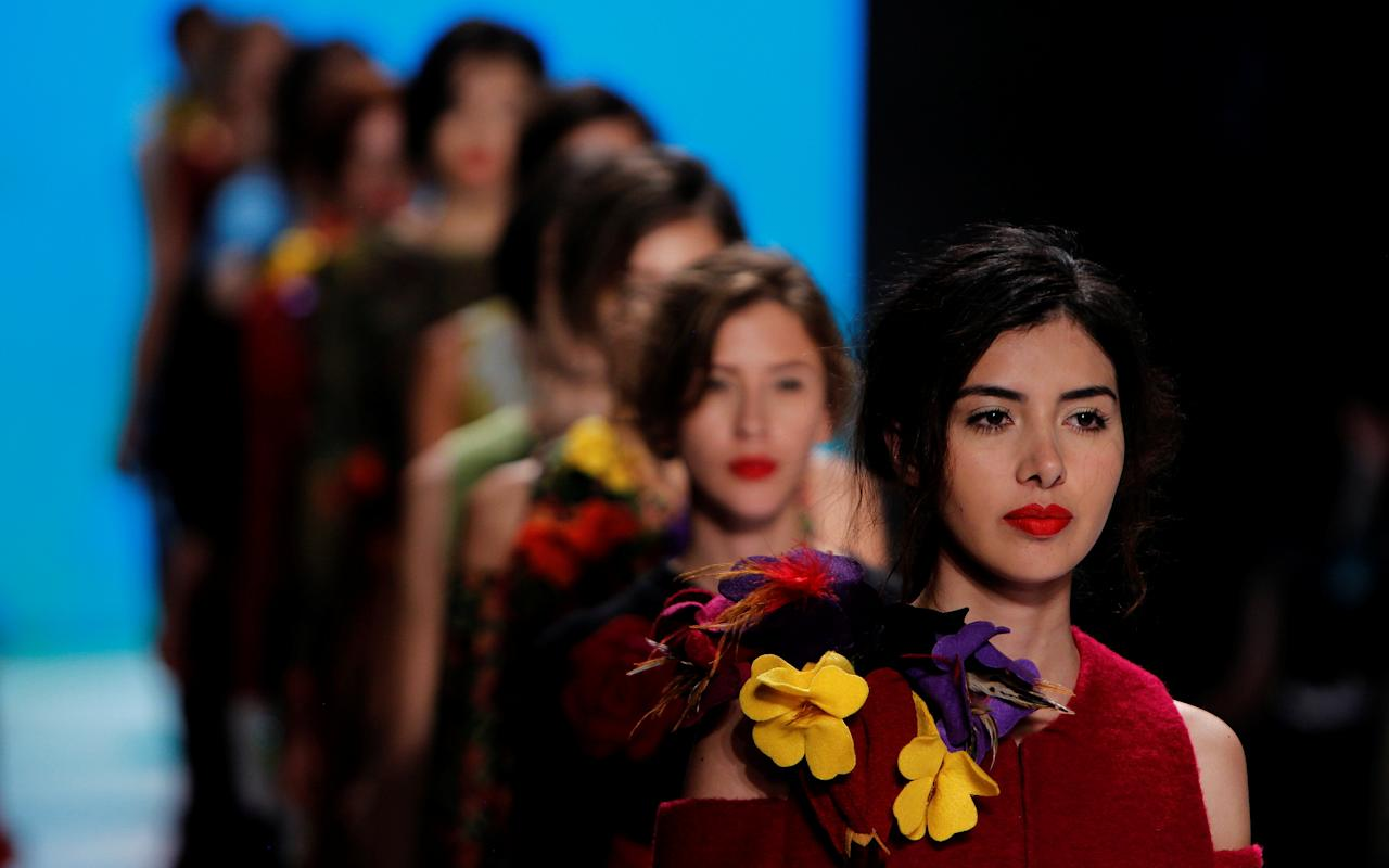 Models present creations by designer Bettina Spitz of Colombia during Bogota Fashion Week in Bogota, Colombia April 27, 2017. REUTERS/Inaldo Perez EDITORIAL USE ONLY. NO RESALES. NO ARCHIVE