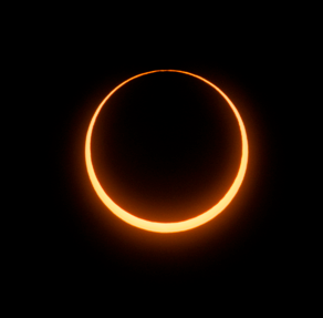 """Astronomer Jay Pasachoff sent in this photo on May 10, 2013 capturing the annular solar eclipse at the moment of the """"ring of fire."""" He took the image from a site 43 miles (70 km) north of Tennant Creek, Northern Territories, Australia using a"""