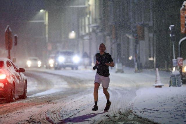 Jogger in snow