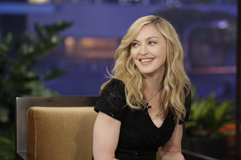 THE TONIGHT SHOW WITH JAY LENO -- Episode 4192 -- Pictured: Singer Madonna during an interview on January 30, 2012  (Photo by Paul Drinkwater/NBCU Photo Bank/NBCUniversal via Getty Images via Getty Images)