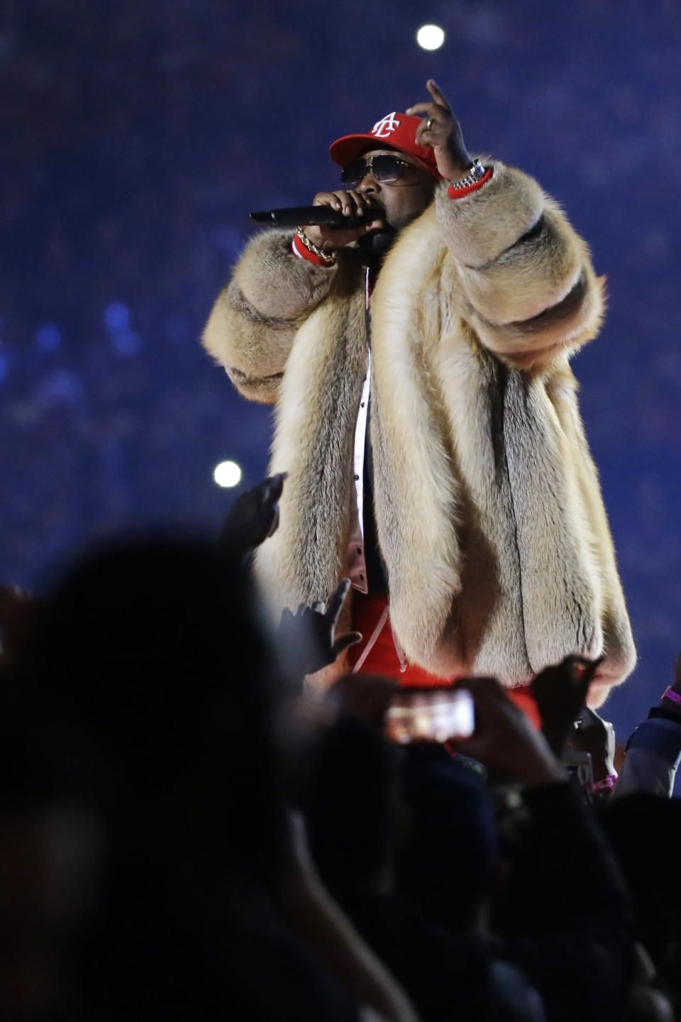 <p>Big Boi performs during halftime of the NFL Super Bowl 53 football game between the Los Angeles Rams and the New England Patriots Sunday, Feb. 3, 2019, in Atlanta. (AP Photo/Mark Humphrey) </p>