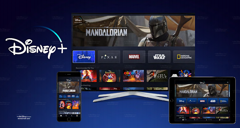 Disney+ streaming interface on multiple devices including a TV, smartphone, and tablet computer