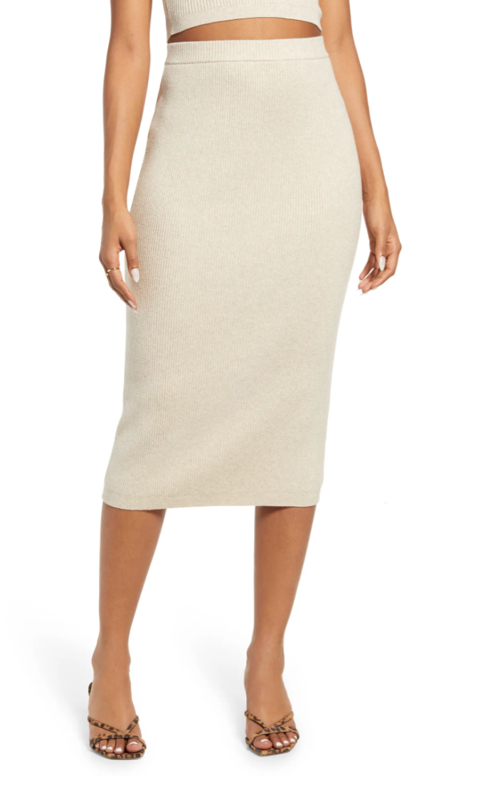 Open Edit Rib Sweater Skirt in Beige Oatmeal (Photo via Nordstrom)