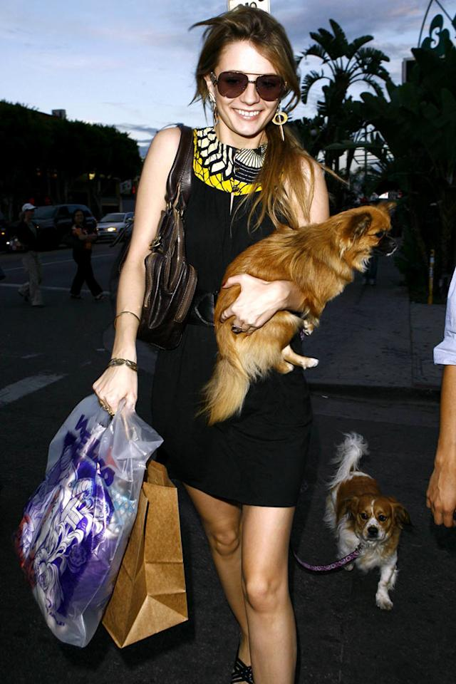 """Mischa Barton with her dog. <a href=""""http://www.x17online.com"""" target=""""new"""">X17 Online</a> - March 8, 2007"""