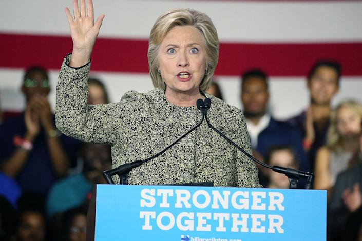 <p>Hillary Clinton pictured delivering a speech for Millennials at Temple University in Philadelphia, Pennsylvania on September 19, 2016. (Star Shooter/MediaPunch/IPX/AP) </p>