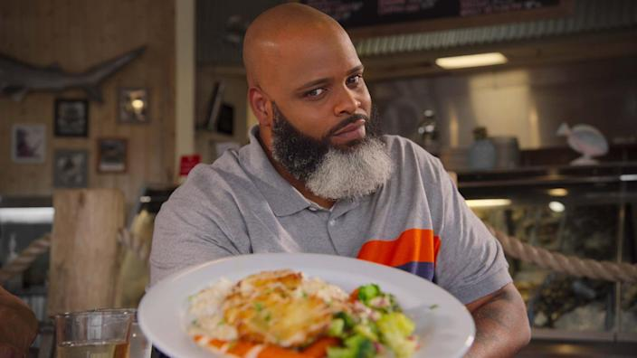 """<p>This mouth-watering new show follows food critic Daym Drops as he travels to America's hot spots for the best, freshest takes on fried food. It's simply delicious (most of the time)!</p> <p><a href=""""https://www.netflix.com/title/81223142"""" class=""""link rapid-noclick-resp"""" rel=""""nofollow noopener"""" target=""""_blank"""" data-ylk=""""slk:Watch Fresh, Fried &amp; Crispy on Netflix"""">Watch <strong>Fresh, Fried &amp; Crispy</strong> on Netflix</a>. </p>"""