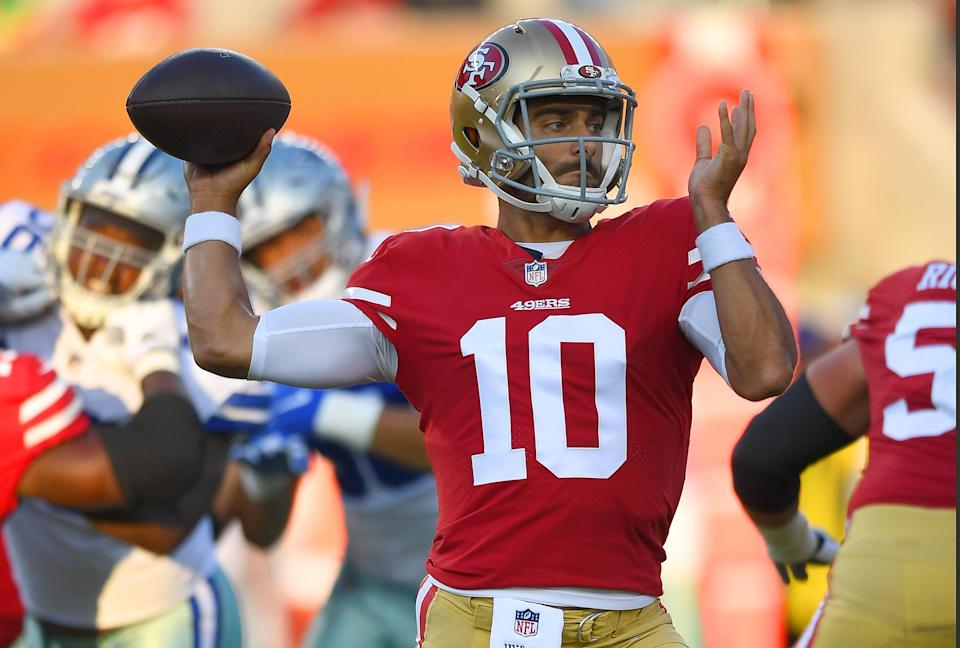 San Francisco 49ers quarterback and Chicago-area native Jimmy Garoppolo signed with Jordan this summer. (Getty Images)