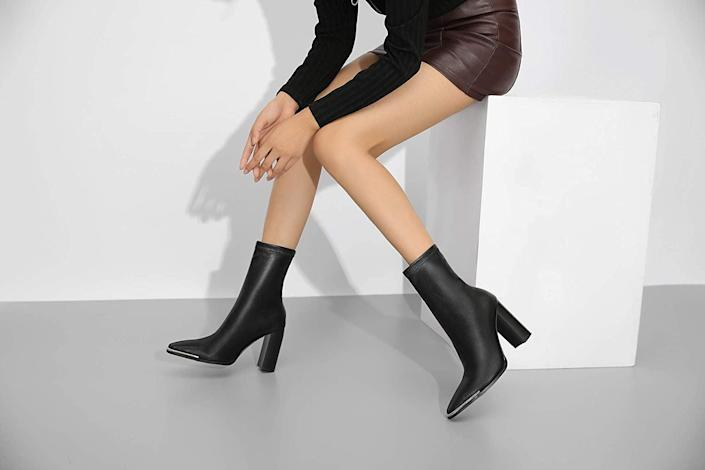 <p>The metal toe accent of these <span>Vivianly Mid-Calf Boots</span> ($32) gives them an extra dose of style, and we can't get enough. They look luxe and at $32, they're a total steal.</p>