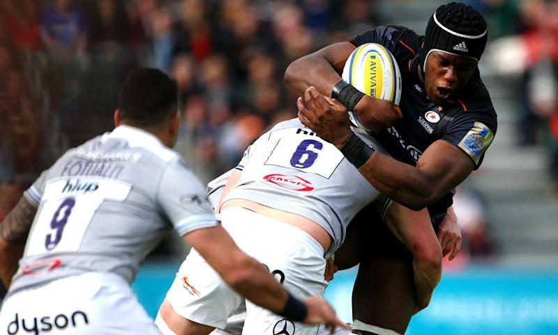Saracens and Majo Itoje (right) were at their brilliant best against Bath last weekend – Glasgow are the visitors to Allianz Park on Sunday