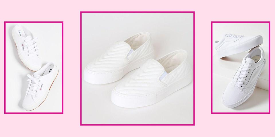 "<p>Classic white sneakers are a wardrobe essential. This is NOT up for debate. They might be overlooked as basic, but once you find the right pair, they can truly be the most versatile shoe you own. Not only are they timeless, comfortable, and <a href=""http://www.seventeen.com/fashion/style-advice/g32688825/white-sneaker-outfits/"" rel=""nofollow noopener"" target=""_blank"" data-ylk=""slk:easy to style"" class=""link rapid-noclick-resp"">easy to style</a>, but you can rock these bad boys all year long regardless of the season. I'm serious. </p><p>White sneaks match perfectly with your favorite sundress, are ideal with jeans in the fall, and can be worn with fleece-lined leggings come wintertime. With so many different styles, there's a pair that's bound to fit your taste and budget. Narrowing down to just 30 standout styles was tough, but because these are all under $100, they made the final cut. So what are you waiting for? Scroll ahead to shop classic white sneakers that are cute and affordable.<br></p>"