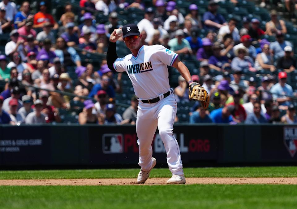 Third baseman Spencer Torkelson fields the ball in the first inning of the MLB All Star Futures Game at Coors Field in Denver, Sunday, July 11, 2021.