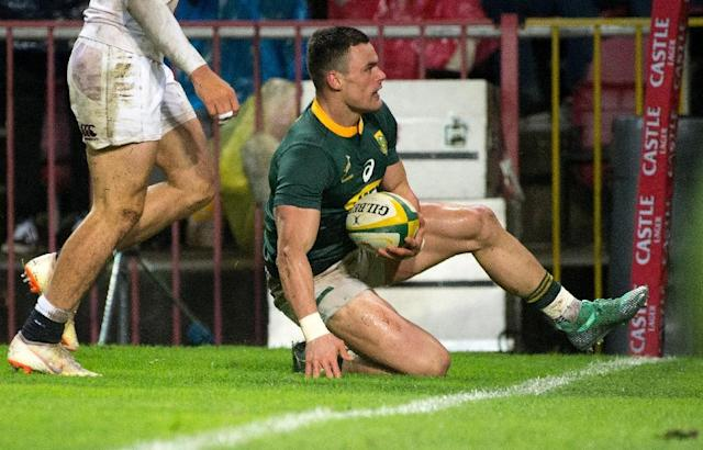 Jesse Kriel's try in the loss to England was a bright spot in what coach Rassie Erasmus called a 'terrible' Springbok display (AFP Photo/RODGER BOSCH)
