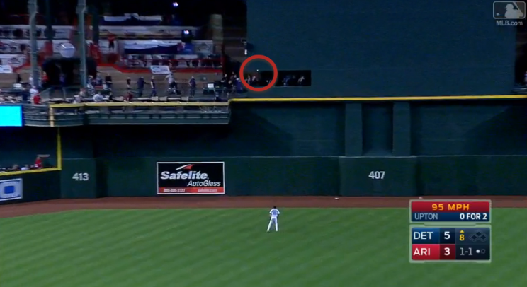 Justin Upton's monster homer landed in the camera well at Chase Field. (MLB.TV)