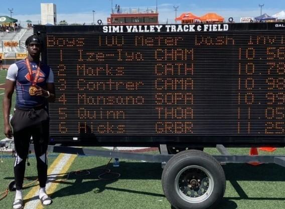 Junior Patrick Ize-Iyamu of Chaminade ran the state's fastest 100 meters this season and a personal best of 10.56 at the Simi Valley Invitational.