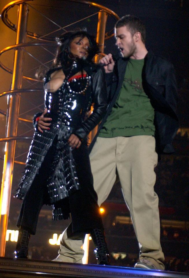 <p>Remember that time she sang with Justin Timberlake in 2004?<br />He ripped off a piece of clothing where she revealed her nipple during the halftime show at Super Bowl. Source: Getty </p>