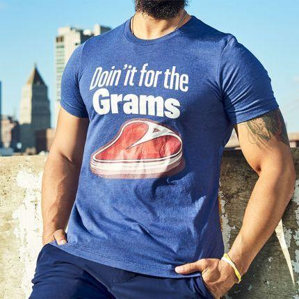 """<p><strong>menshealth.com</strong></p><p>menshealth.com</p><p><strong>$25.00</strong></p><p><a href=""""https://shop.menshealth.com/doin-it-for-the-grams-tee.html"""" rel=""""nofollow noopener"""" target=""""_blank"""" data-ylk=""""slk:BUY IT HERE"""" class=""""link rapid-noclick-resp"""">BUY IT HERE</a></p><p>Graphic tees work for pre- and post-gym, too. Plus, what better way to highlight your personality than with a literal steak? </p>"""