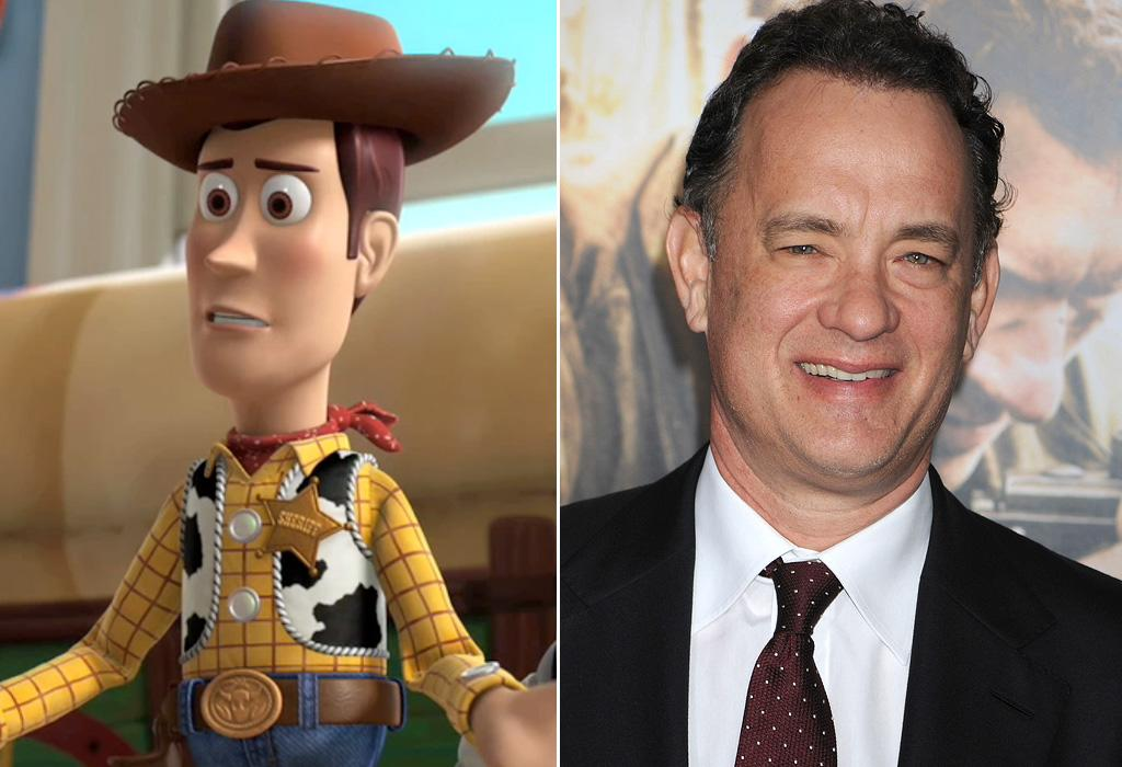 "WOODY/<a href=""http://movies.yahoo.com/movie/contributor/1800010392"">TOM HANKS</a>  Tom Hanks played Woody for all three of the ""Toy Story"" movies. However, if you see Woody in a commercial or TV spot, that's not the voice of the Oscar-winning actor you're hearing. Instead, it's his brother Jim Hanks."