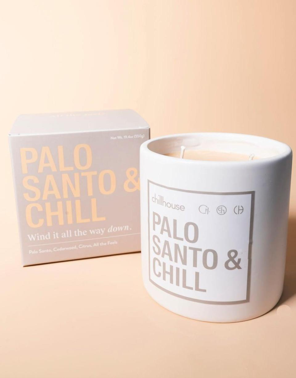 <p>Not only does this <span>Chillhouse Palo Santo & Chill Candle</span> ($52) give off a warm, alluring scent (hello, cedarwood and citrus!), but it also melts down into a massage or hand oil, so it's basically a calming double-whammy.</p>