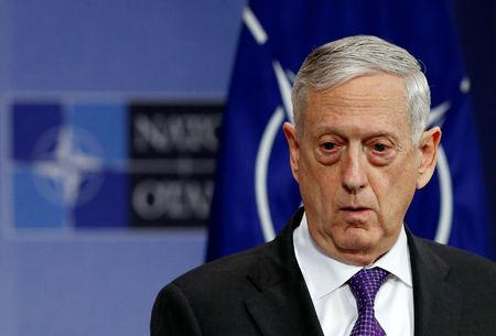 FILE PHOTO - U.S. Secretary of Defence Jim Mattis addresses a news conference during a NATO defence ministers meeting at the Alliance headquarters in Brussels, Belgium, February 15, 2018. REUTERS/Francois Lenoir
