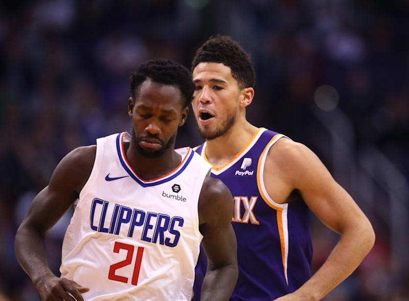 Patrick Beverley's fourth quarter foul on Devin Booker sent him packing from the game, and gave the Suns bench a chance to wave goodbye to him. (Mark J. Rebilas-USA TODAY Sports)