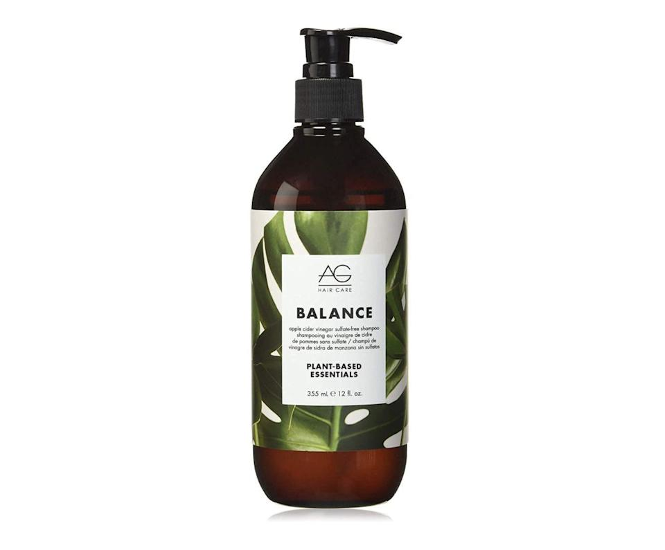 """<p><strong>AG Hair</strong></p><p>amazon.com</p><p><strong>$65.00</strong></p><p><a href=""""https://www.amazon.com/dp/B076JRK4MY?tag=syn-yahoo-20&ascsubtag=%5Bartid%7C2140.g.37361342%5Bsrc%7Cyahoo-us"""" rel=""""nofollow noopener"""" target=""""_blank"""" data-ylk=""""slk:Shop Now"""" class=""""link rapid-noclick-resp"""">Shop Now</a></p><p>This 98 percent plant-based product is a little splurge-y, but if you can swing it, your scalp will thank you. Organic apple cider vinegar gently deep cleans, closing the hair cuticle for tons of shine, while organic argan oil and aloe vera bring extra moisture to your scalp so hair doesn't feel stripped of its natural moisture. For best results, some users suggested cutting a dollop with water because it's very concentrated.</p>"""