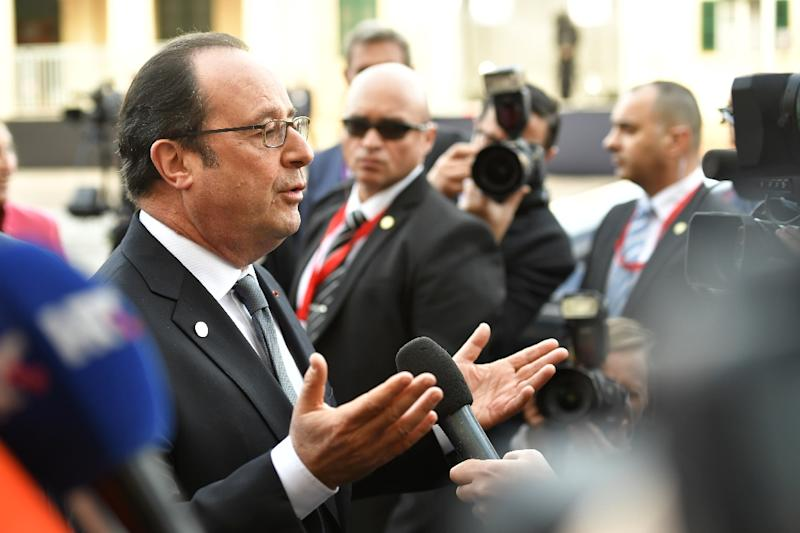 """French President Francois Hollande said US President Donald Trump """"shouldn't meddle in in the European Union's business"""" on his arrival to the EU summit in Valetta"""