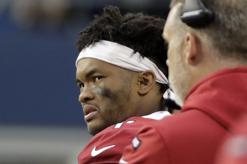 Arizona Cardinals quarterback Kyler Murray watches from the sideline after leaving an NFL football game against the Seattle Seahawks in the second half with an injury, Sunday, Dec. 22, 2019, in Seattle. (AP Photo/Lindsey Wasson)