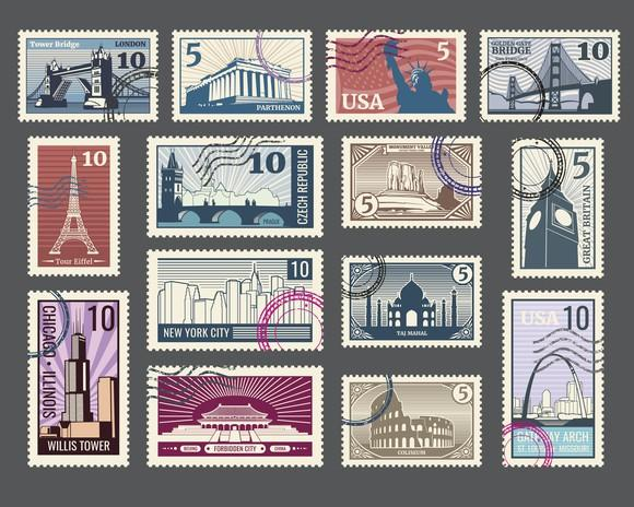 A display of small-denomination postage stamps from different countries, honoring famous landmarks